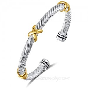 UNY Bracelet Designer Brand Inspired Antique Women Jewelry Cross Cable Wire Bangle Christmas Day Gifts (Triple No Stone)