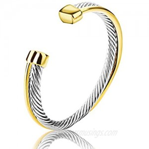 UNY Single Line Cross Over Twisted Cable Wire Bangles Crystal Mosaic Bracelet Bangle for Women Fashion Jewelry