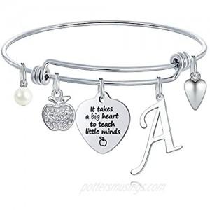 Ursteel Teacher Gifts for Women  26 Initial Charm Bracelets Best Teacher End of Year Christmas Thank You Gifts Teacher Appreciation Gifts for Women