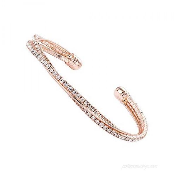 Valentine Day Gift Rhinestone Cuff Bracelet Bangle Clear Crystal Bracelet Bangle Lightweight Silver Plated Bracelet Sparkly Cute Bridesmaid Wed