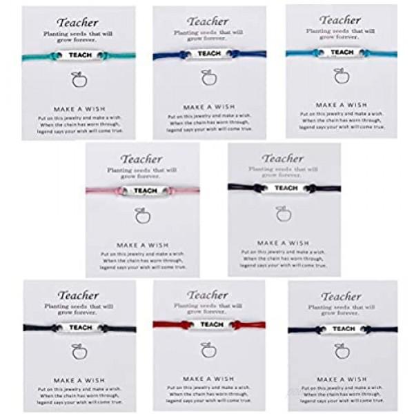 VALIJINA 8 Pieces Teach Blessing Card Bracelets for Women Men Colorfu Greeting Bracelets Card Teacher Blessing Bangles Teacher's Day Gift