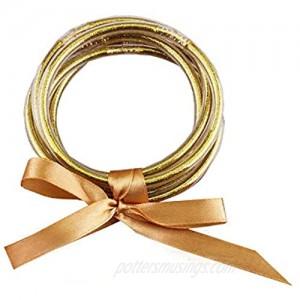YBMYCM Glitter Jelly Bangles Bracelets Set for Women Glitter Filled Jelly Silicone Bracelets for Girls