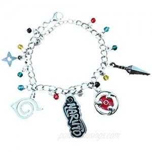 Blue Heron Naruto 5 Logo Charms Lobster Clasp Bracelet w/Gift Box
