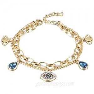 CIUNOFOR Evil Eye Charm Bracelet Gold Rose Gold Plated Stainless Steel Bead Link Italian Style for Women Girls