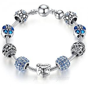 JOEMOD Valentine's Day Gift Blue Fashion Charm Bangle Bracelet for Women Girls Silver Plated 20cm