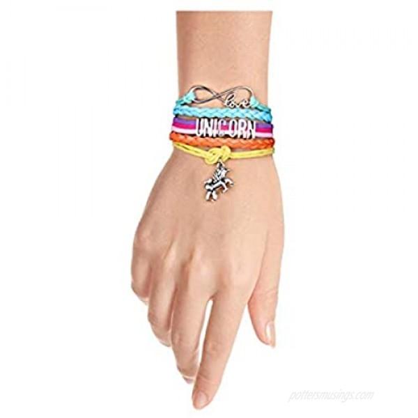 2 Pieces Unicorn Bracelet Bangle Handmade Leather Love Bracelet Unicorn Lovers Jewelry for Women and Girls