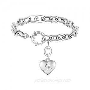 Birthday Gift Initial Charm Bracelets for Women Stainless Steel Heart 26 Letters Alphabet love Initial Bracelet for Girl Jewelry