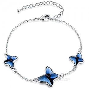 Butterfly Charm Bracelet Denim Swarovski Element Crystal Bracelet Gift for Womens Girls