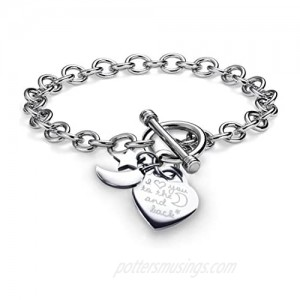 """Charms Bracelet Heart Toggle I Love You To The Moon and Back Stainless Steel Chain 7.5"""""""