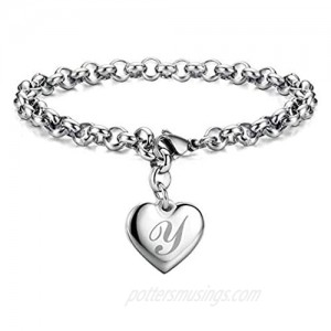 Chili Jewelry Women Girls A to Z Initial Charm Bracelets Stainless Steel Heart 26 Letters Alphabet Link Bracelet for Boys Mens Birthday Gifts