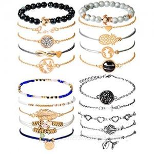 Chuangdi 4 Jewelry Set Layered Beaded Bracelet Adjustable Charm Pendent Stack Bracelets Wrap Bangle for Women Girl (Style 1)