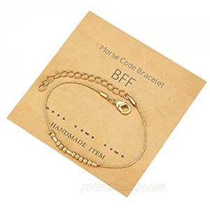 COLORFUL BLING Morse Code Bracelets Inspirational Beads on Silk Gold Plated Stainless Steel Adjustable Encouragement Card for Women Men I Love You Couple Jewelry