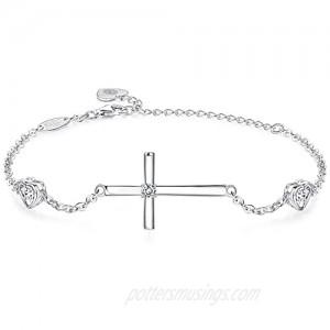 Cross Ankle Bracelets for Women 925 Sterling Silver CZ Diamond Cross Charm Ankle Bracelets Jewelry Gifts for Mom Women Girls