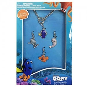 Finding Dory 7 Charm Bracelet with 2mm metal charms and jelly faceted by Finding Dory
