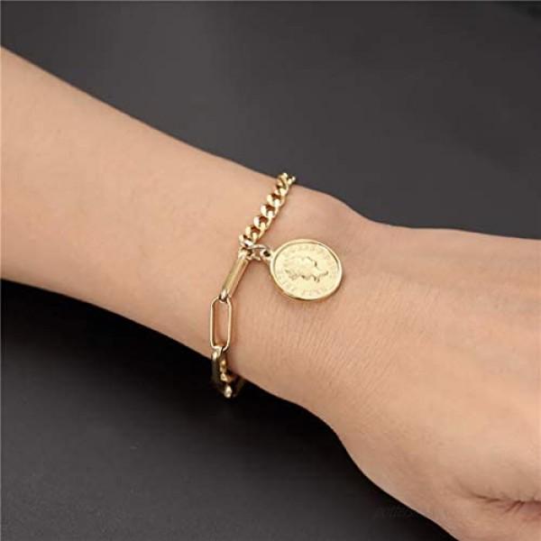 FOXJWEL Cameo Bracelet Queen Her Majesty Link Bracelet Elizabeth Coin Jewelry for Women