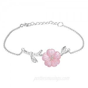 ♥Gift for Mother's Day♥Lotus Fun 925 Sterling Silver Bracelet Crystal Flower in the Rain Adjustable Bracelets with Chain length 6.5''-7.6'' Handmade Unique Jewelry Gift for Women and Girls