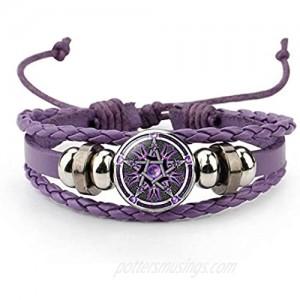 Giwotu Black Occult The Inverted Star Sign Pentagram Satanic Pentagram Star Symbols Glass Beaded Telescopic Bracelets Men Women Jewelry