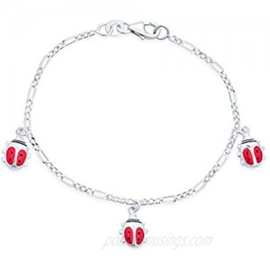 Good Luck Dangling Pink Ladybug Charm Bracelet For Teen For Women 925 Sterling Silver Small Wrist 6 Inch