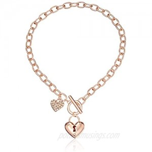 GUESS Womens Puffy Heart Toggle Necklace