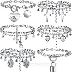 iF YOU Silver Chain Bracelet Set for Women Teen Girls Layers Cool Stackable Bracelet with Cross Heart Lock Bead Charm Funky Punk Adjustable Link Bracelet Gifts (3/6 Pack)