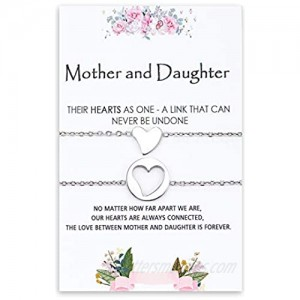 Jeka Matching Mother Daughter Heart Pendant Bracelet/Necklace Jewly Gifts for Mother's Day