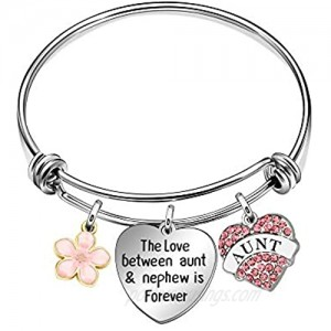 JQFEN Aunt Bracelet from Nephew Charm Flower Bracelet Gifts for Auntie Aunt Mothers Day Present Crystal Heart Pendant Jewelry for Aunt from Nephew