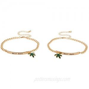 Lux Accessories Goldtone Best Buds BFF Friends Marijuana Leaf Bracelet Set (2pc)