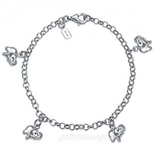 Minimalist Good Luck Multi Charm Dangling Elephant Bracelet For Women For Teen 925 Sterling Silver
