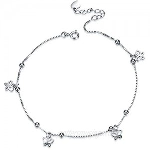 MONGAS Butterfly Charm Bracelet 925 Sterling Silver with CZ Adjustable Link Chain Jewelry for Women