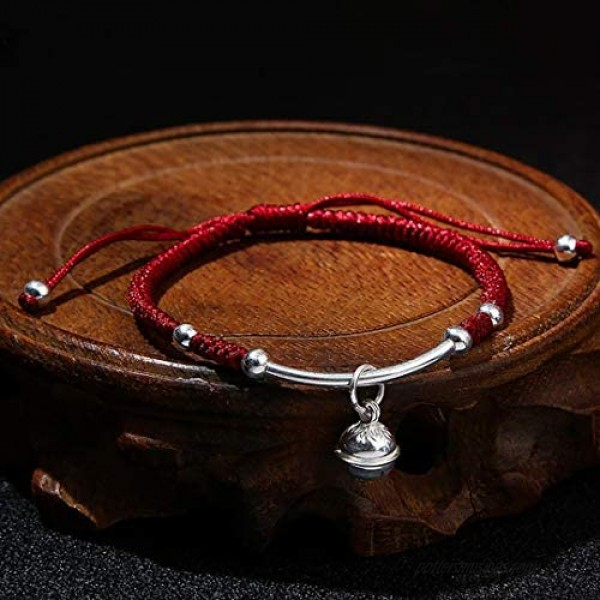 NUOGIC Real S925 Sterling Silver Bell Lucky Red Rope Bracelet for Women Gift