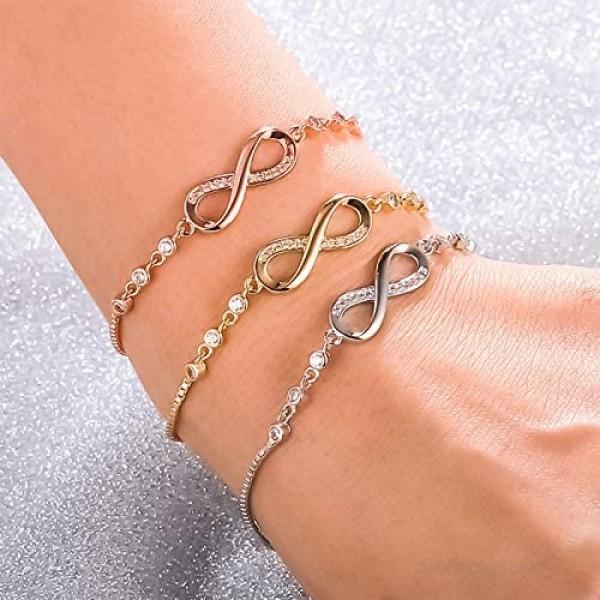 NUOSHING Infinity Love Bracelet 14K Gold Plated Crystal Symbol Charm Bracelet Adjustable Slider Bracelet Gift for Women TeenGirls