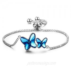 PAULINE&MORGEN ✦Butterfly Dream✦ Valentine's Day Bracelet Gifts for Her Women Butterfly Bangle Tennis Bracelets for Women with Denim Blue Crystal from Swarovski Box Chain Hypoallergenic