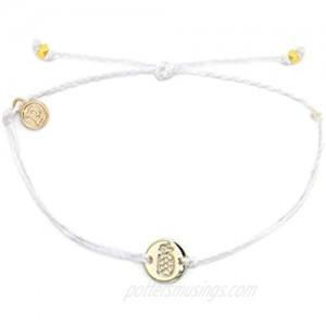 Pura Vida Silver Pineapple Coin Charm Bracelet - Plated Charm Adjustable Band - Waterproof - White
