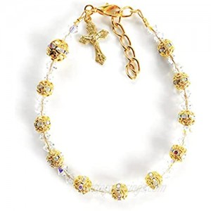 Rana Jabero Sparkling Rosary Crucifix Cross Charm Bracelet Made with Crystals from Swarovski - Gold Plated