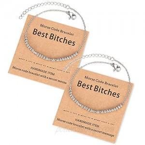 Shonyin Morse Code Bracelets 2 PCS Matching Adjustable Bracelet for Women Men Ideal Gifts for Besties Friends Mother Daughter Couple