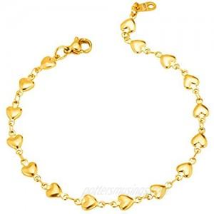U7 Heart Charm Bracelet Stainless Steel Dainty Link Chain Dainty Jewelry Custom Initials Charm/Love Heart Bracelet for Women Girls Length Adjustable 7-10 Inch