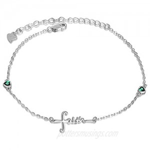 UCADRIT Faith Cross Charm Bracelet Sterling Silver with Simulated Birthstone Faith Jewelry for Women