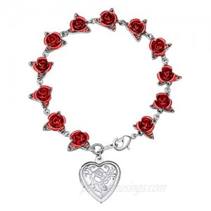 Women Girls Rose Flower Charm Bracelet 18K Gold or Platinum Plated Link 12 Roses Jewelry Lover Gift Gift Packed(Rose/Locket Style/ 100 Lauguages I Love You)