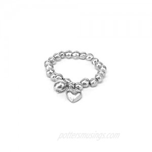 Womens Aluminum Bracelet with Ball and Round Heart Charms