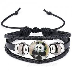 Womens Giant Panda Baby Pictures Black Leather Bracelet Multi Layer Lovely Cartoon Animal Glass Cabochon Bangle for Girl Boy