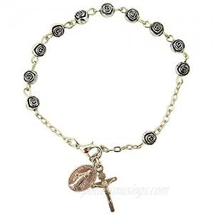 "Womens or Girls  Religous & Inspirational Catholic Rosebud Rosary Bracelet  Antique Silver Plate 6 Mm Bead -- 7 3⁄4"" L"