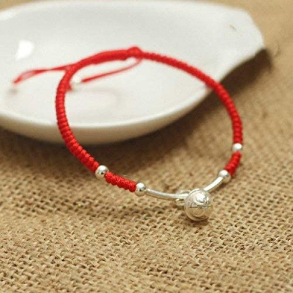 Womens Real 925 Sterling Silver Amulet Handmade Lucky Bell Bracelet Red Rope Bangle Jewelry