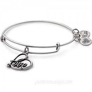 Alex and Ani Path of Symbols Expandable Bangle for Women  Love Charm  Rafaelian Finish  2 to 3.5 in