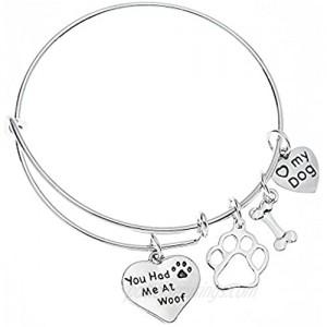 Dog Charm Bracelet - Paw Print Jewelry- Dog Lovers Bracelet- Dog Owner Bangle -Perfect Gift for Dog Lovers