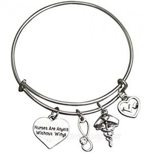 Infinity Collection Nurse Bracelet  Nurses are Angels Without Wings Charm Bangle Bracelet  Nurse Jewelry  Perfect Nurse Appreciation Gifts