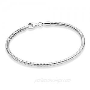 Miabella Solid 925 Sterling Silver Italian 3mm Snake Chain Bracelet for Women Men Teen Girls Charm Bracelet 6.5 7 7.5 8 8.5 9 Inch Made in Italy