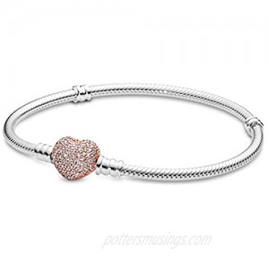 PANDORA Jewelry Moments Pave Heart Clasp Snake Chain Cubic Zirconia Bracelet in Rose