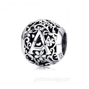 BAMOER 925 Sterling Silver Letter Initial A-Z Alphabet Charm Bead Fits Pandora Bracelets & Necklace