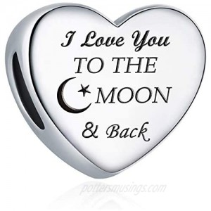 """Charm Fit Charms Bracelet """"I Love You to the Moon and Back"""" Love Heart Charms Christmas Birthday Gift"""