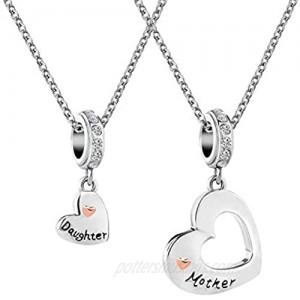 CharmSStory Mom Mother Daughter Heart Love Dangle Charm Beads for Snake Chain Bracelet